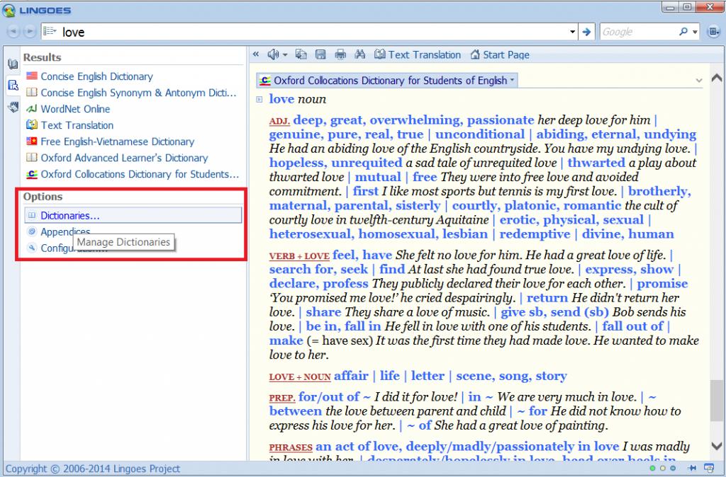 Hướng dẫn sử dụng từ điển Lingoes